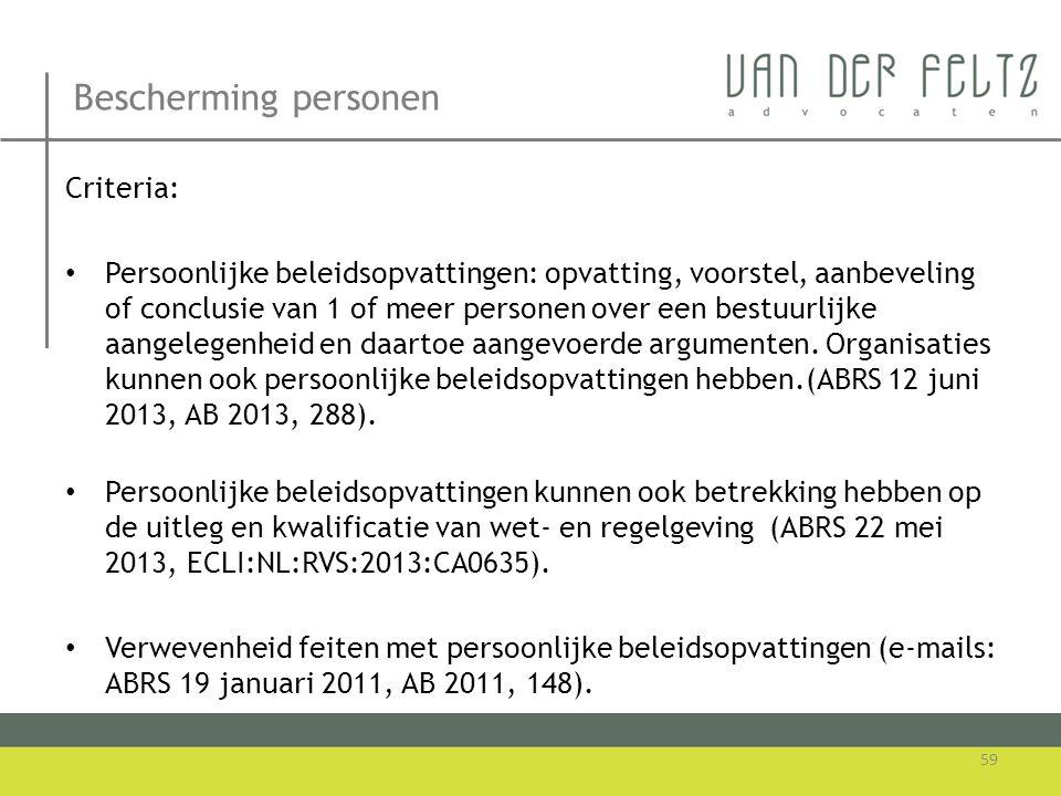 Bescherming personen Criteria: