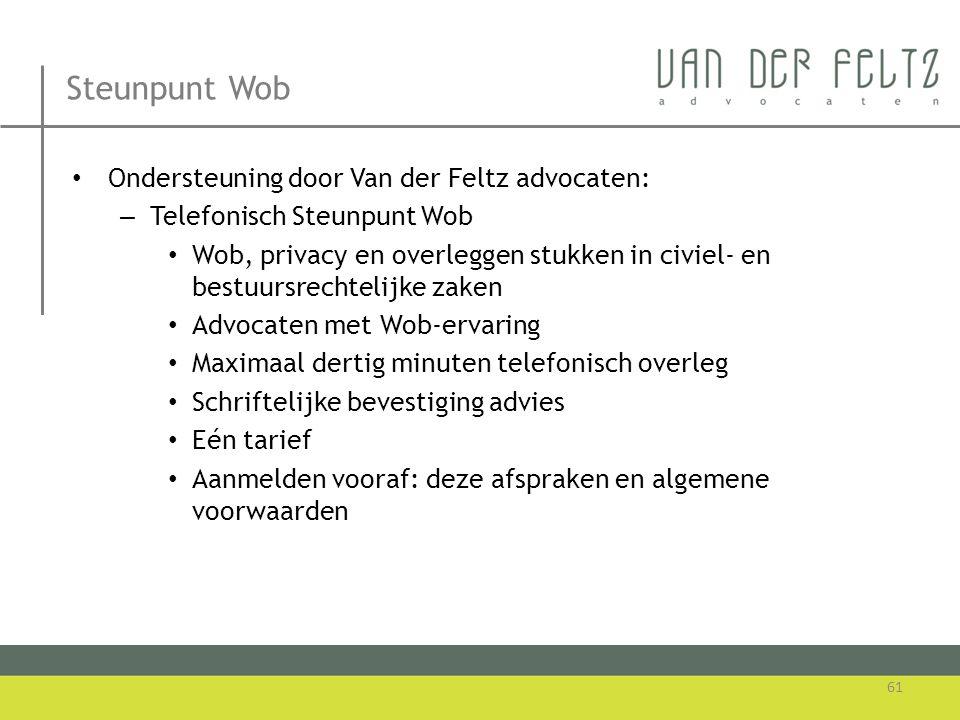 Steunpunt Wob Ondersteuning door Van der Feltz advocaten: