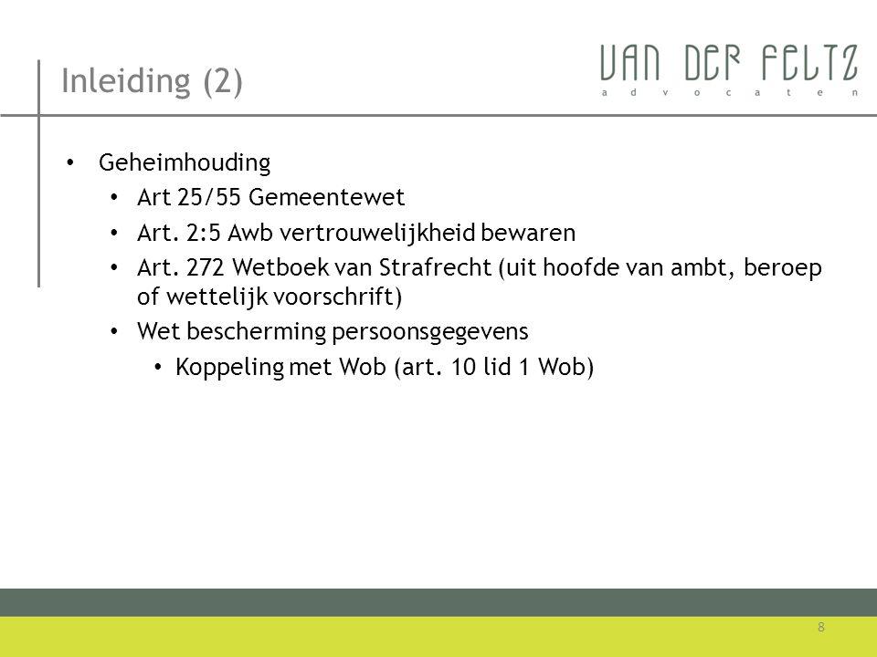 Inleiding (2) Geheimhouding Art 25/55 Gemeentewet