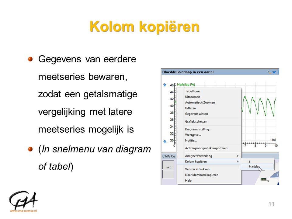 Kolom kopiëren Gegevens van eerdere meetseries bewaren, zodat een getalsmatige vergelijking met latere meetseries mogelijk is.