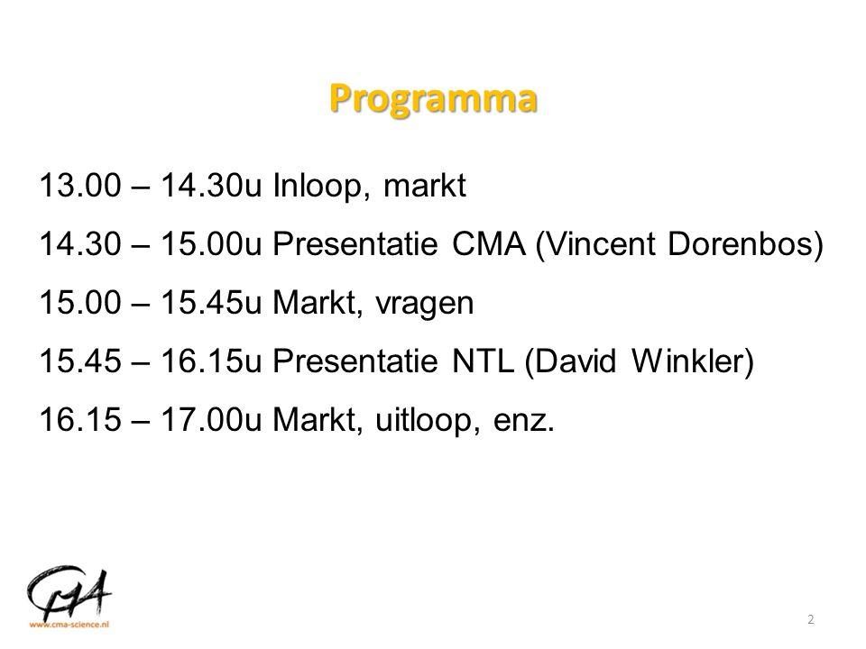 Programma 13.00 – 14.30u Inloop, markt