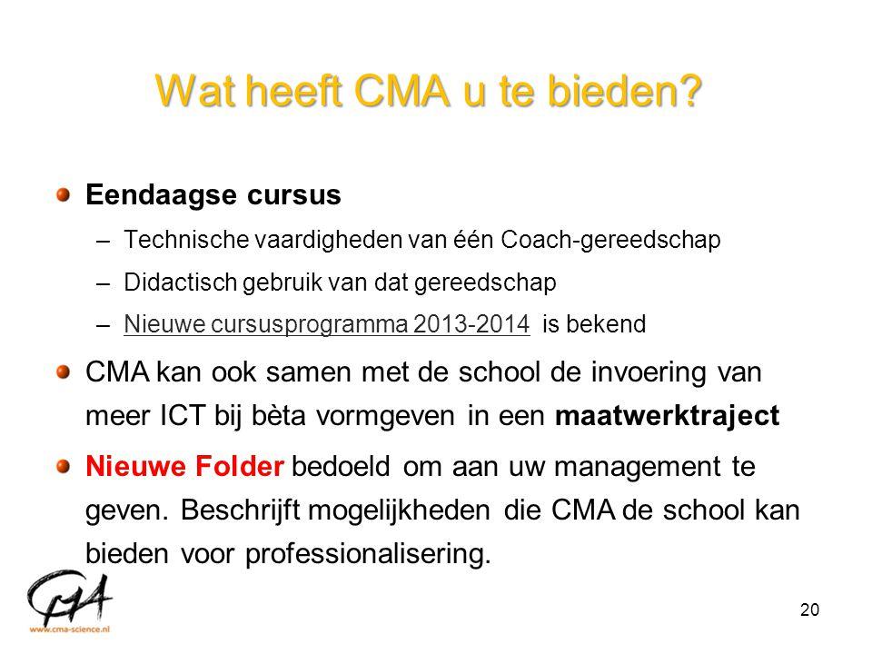 Wat heeft CMA u te bieden