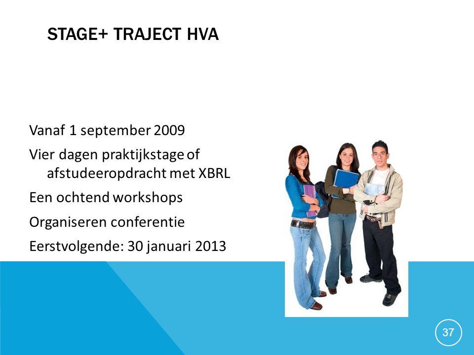 Stage+ traject HVA Vanaf 1 september 2009
