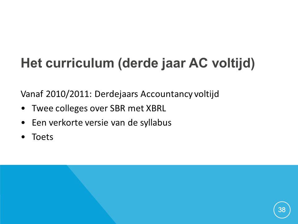 Het curriculum (derde jaar AC voltijd)
