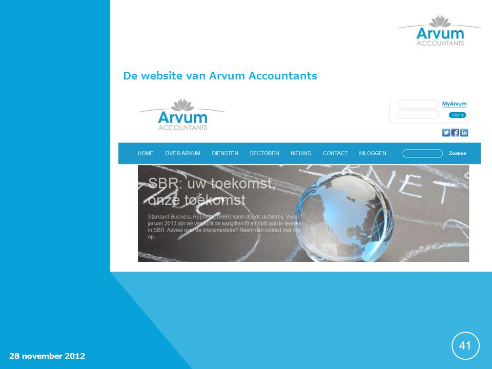De website van Arvum Accountants