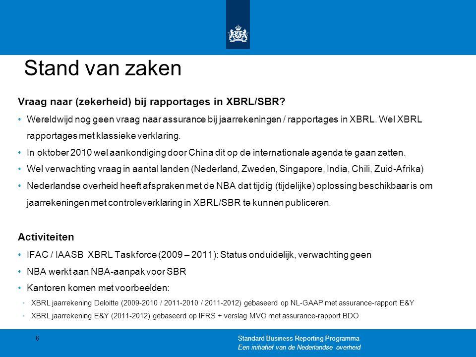 Stand van zaken Vraag naar (zekerheid) bij rapportages in XBRL/SBR