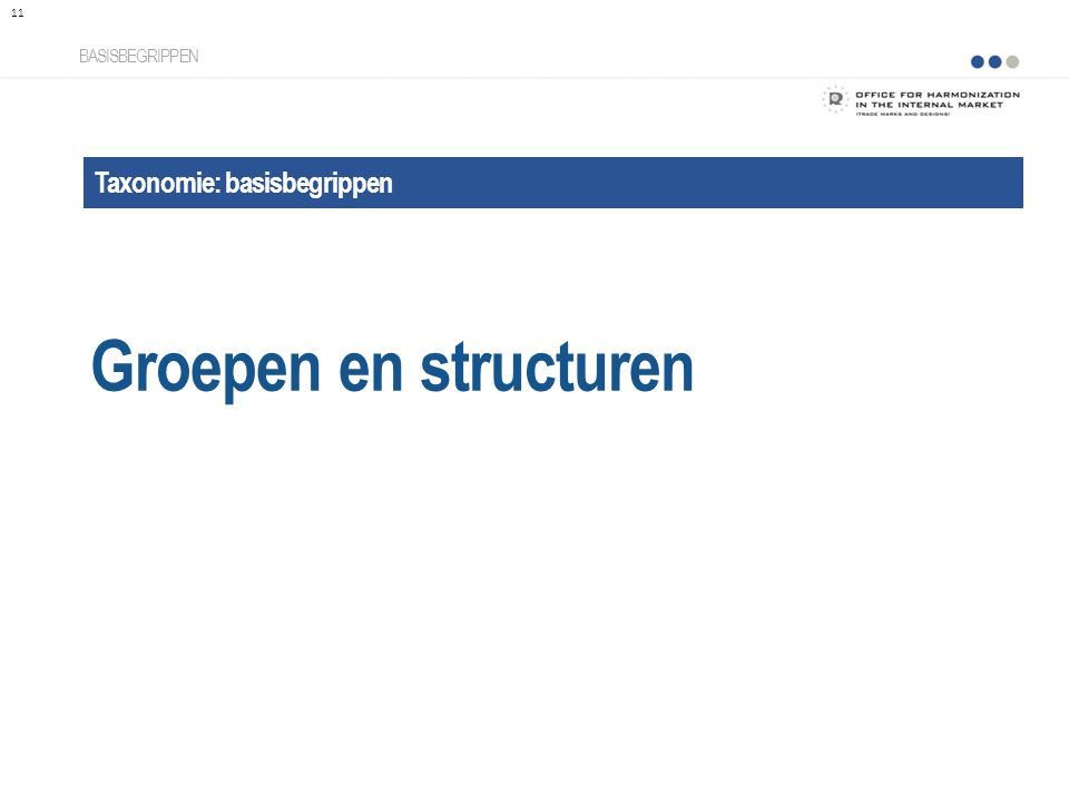 Groepen en structuren Taxonomie: basisbegrippen BASISBEGRIPPEN