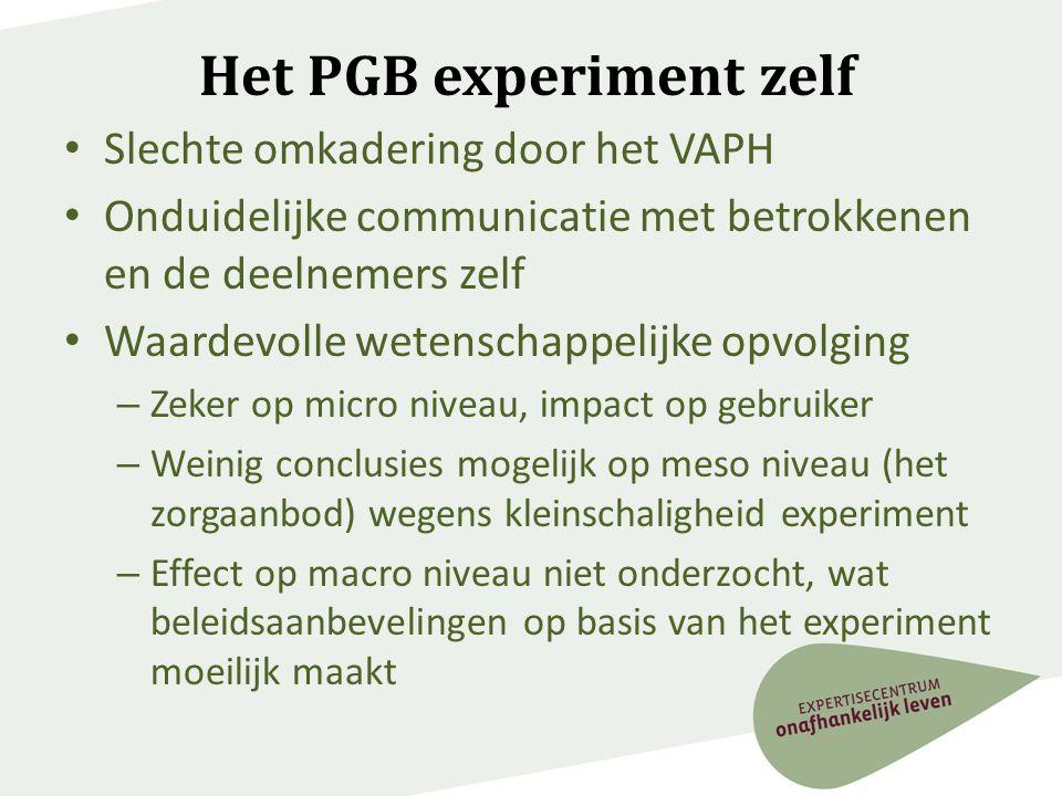 Het PGB experiment zelf