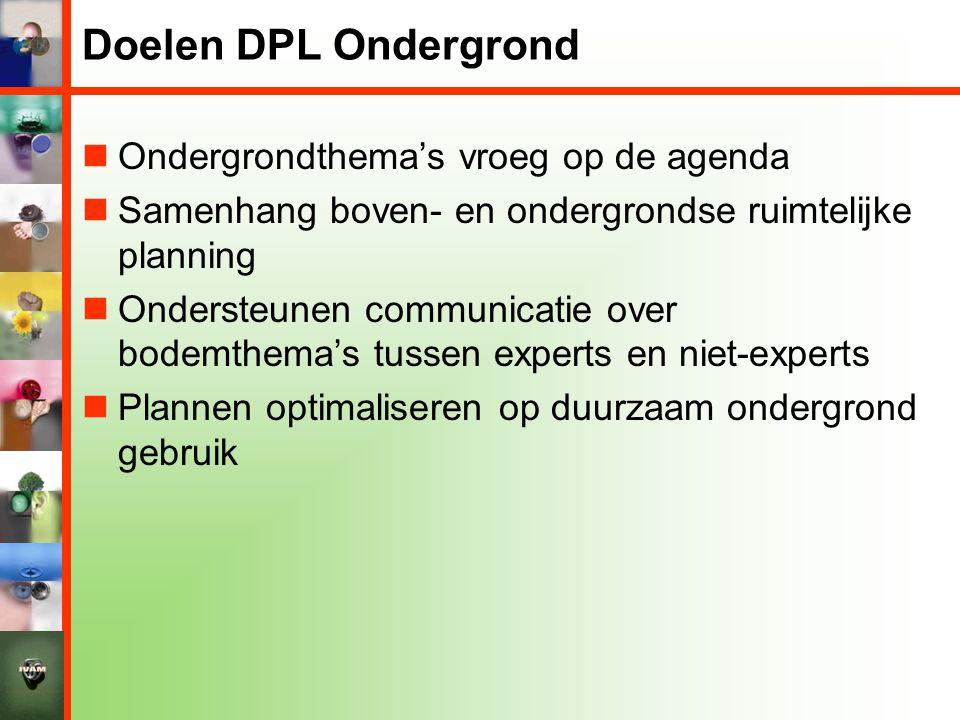 Doelen DPL Ondergrond Ondergrondthema's vroeg op de agenda