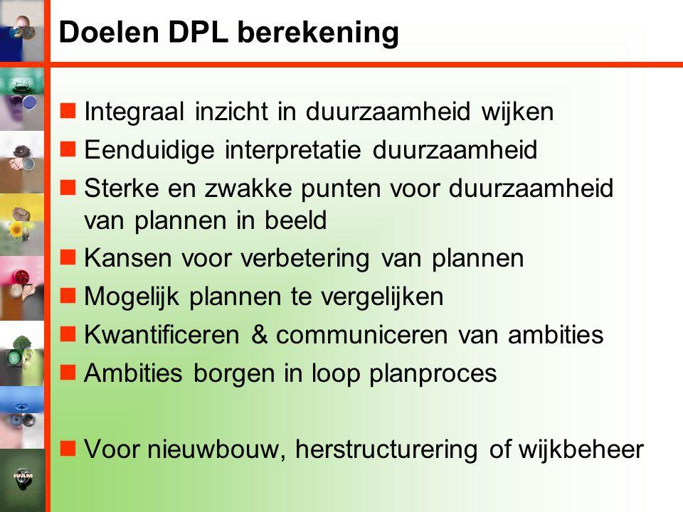 Doelen DPL berekening Integraal inzicht in duurzaamheid wijken