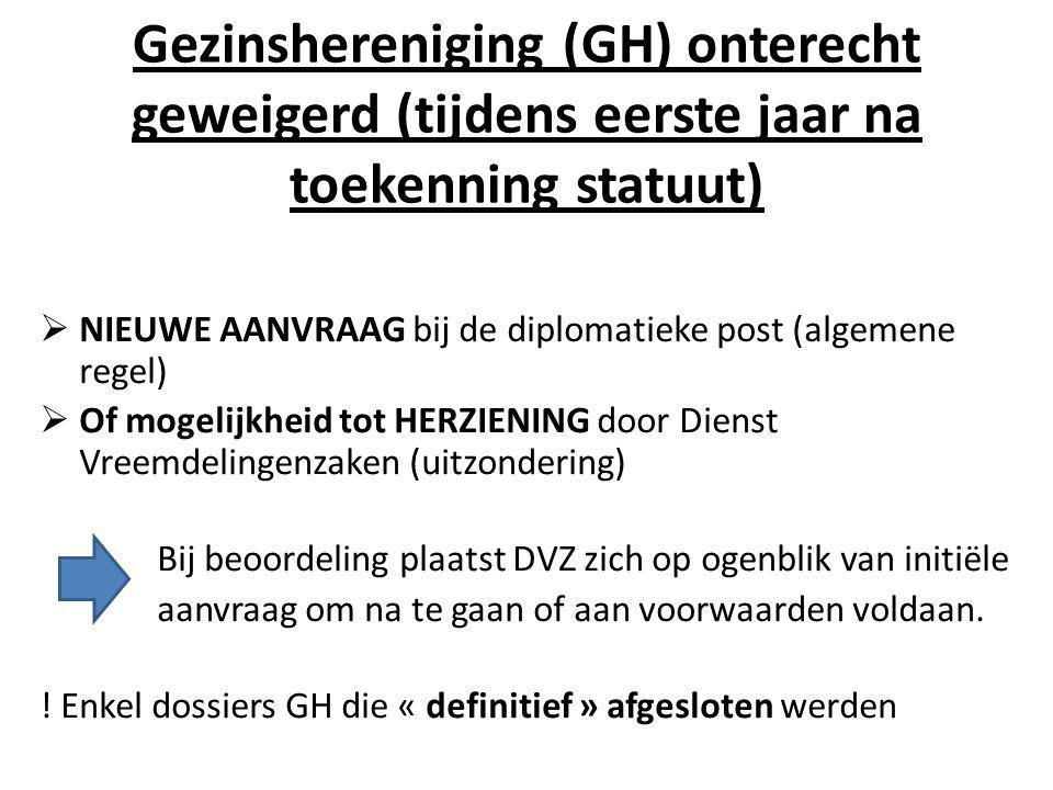 Gezinshereniging (GH) onterecht geweigerd (tijdens eerste jaar na toekenning statuut)