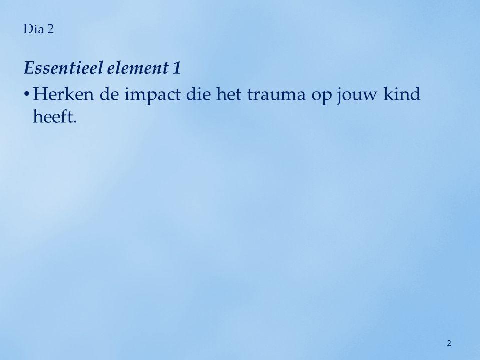 Dia 2 Essentieel element 1 Herken de impact die het trauma op jouw kind heeft.