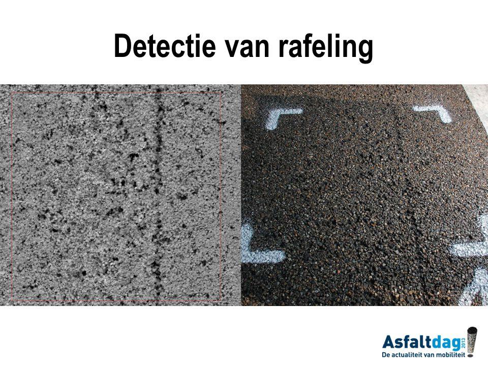 Detectie van rafeling Voor kalibratie van LCMS-systeem worden inspecties buiten uitgevoerd op afgezette m2 (zie links).