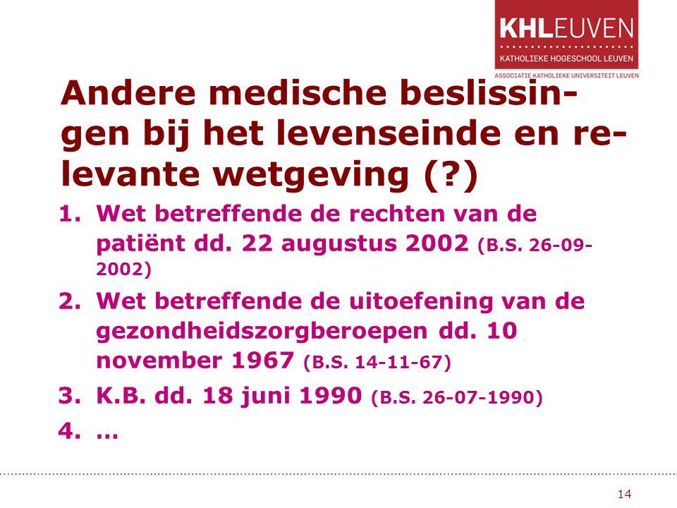 Andere medische beslissin-gen bij het levenseinde en re-levante wetgeving ( )