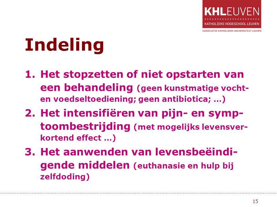 Indeling Het stopzetten of niet opstarten van een behandeling (geen kunstmatige vocht- en voedseltoediening; geen antibiotica; …)