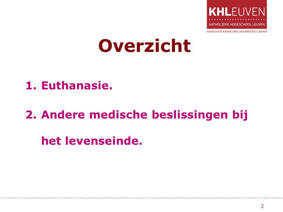Overzicht Euthanasie. Andere medische beslissingen bij het levenseinde.