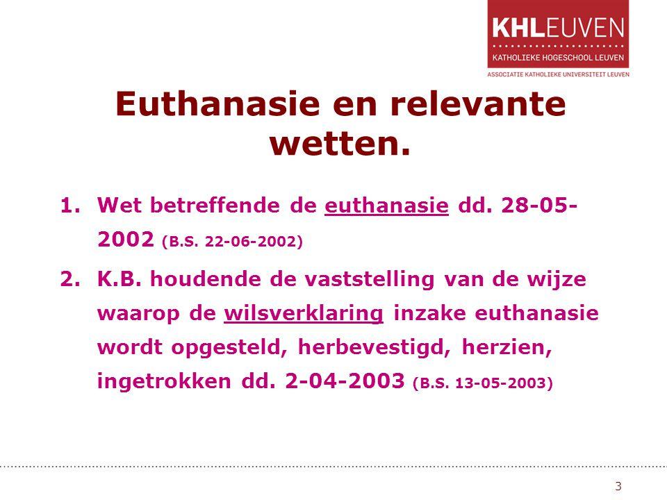 Euthanasie en relevante wetten.