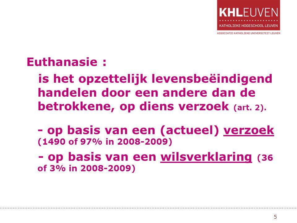Euthanasie : is het opzettelijk levensbeëindigend handelen door een andere dan de betrokkene, op diens verzoek (art.