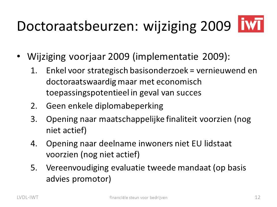 Doctoraatsbeurzen: wijziging 2009