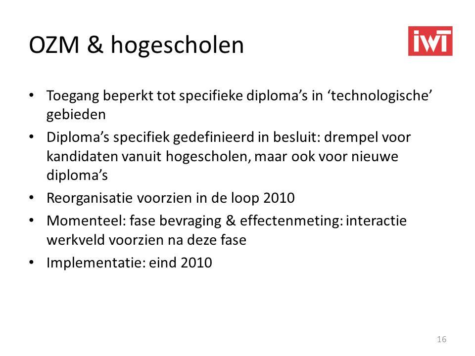 OZM & hogescholen Toegang beperkt tot specifieke diploma's in 'technologische' gebieden.