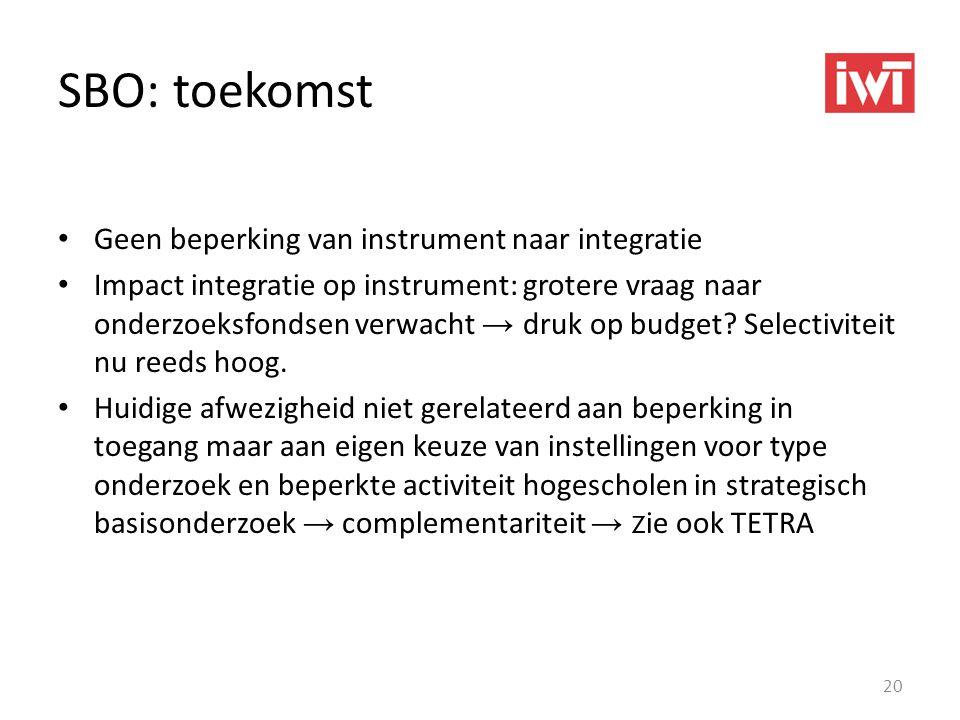 SBO: toekomst Geen beperking van instrument naar integratie