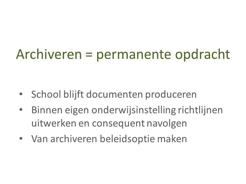 Archiveren = permanente opdracht