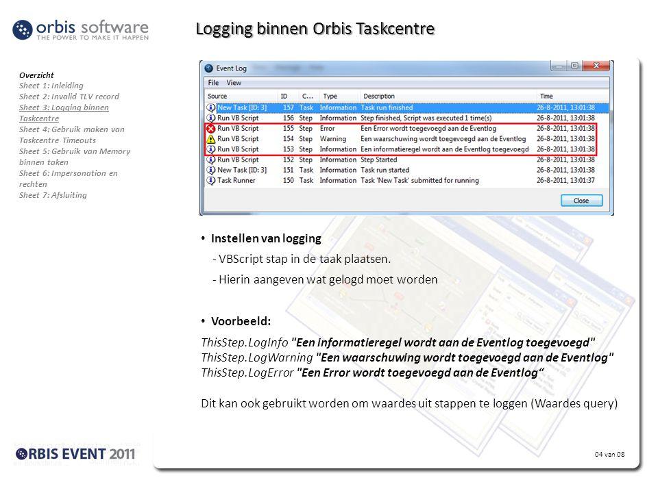 Logging binnen Orbis Taskcentre