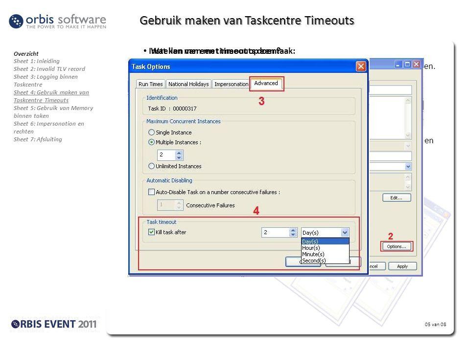 Gebruik maken van Taskcentre Timeouts