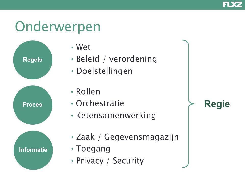 Onderwerpen Regie Wet Beleid / verordening Doelstellingen Rollen
