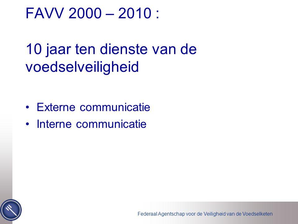 FAVV 2000 – 2010 : 10 jaar ten dienste van de voedselveiligheid