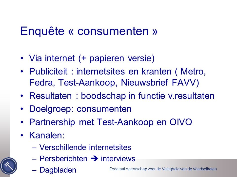 Enquête « consumenten »
