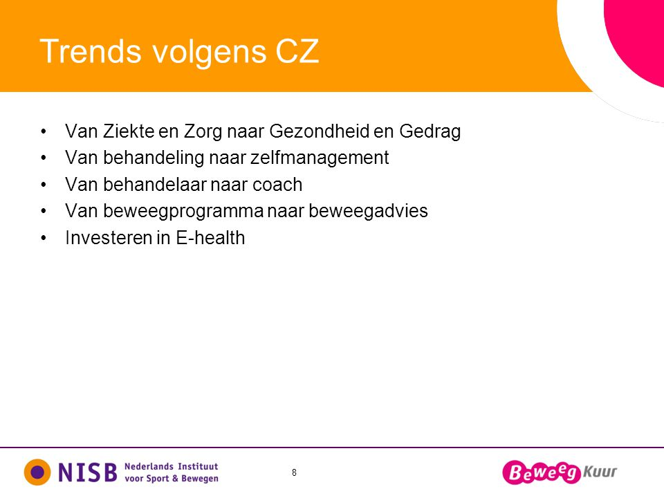 Trends volgens CZ Van Ziekte en Zorg naar Gezondheid en Gedrag