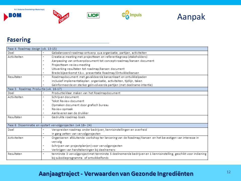 Aanpak Fasering Fase 4: Roadmap design (wk. 13-15) Doel