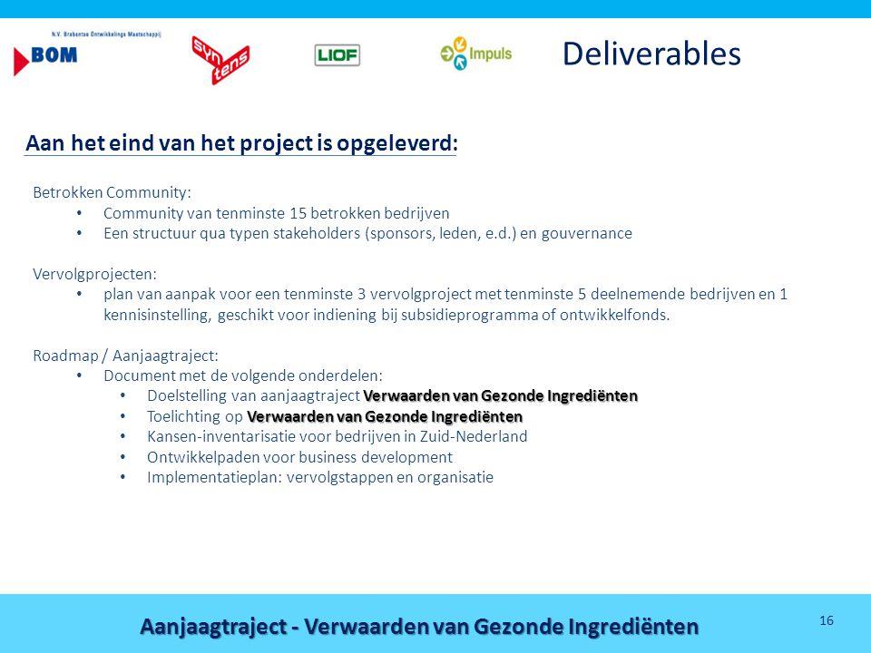 Deliverables Aan het eind van het project is opgeleverd: