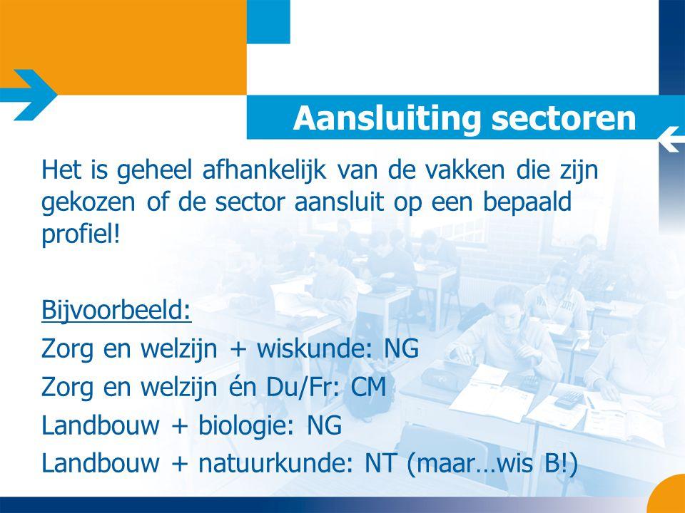 Aansluiting sectoren Het is geheel afhankelijk van de vakken die zijn gekozen of de sector aansluit op een bepaald profiel!
