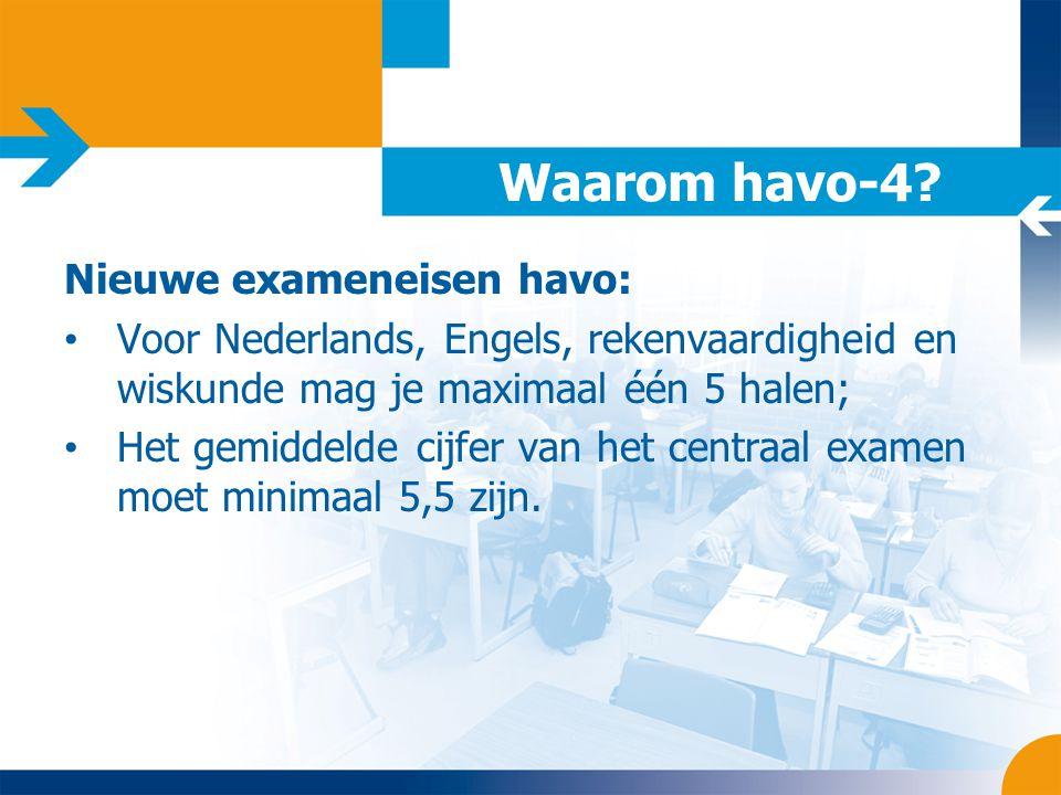 Waarom havo-4 Nieuwe exameneisen havo: