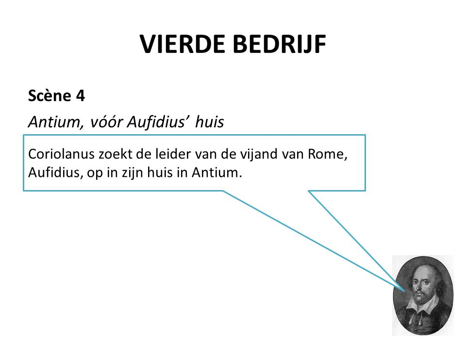 VIERDE BEDRIJF Scène 4 Antium, vóór Aufidius' huis