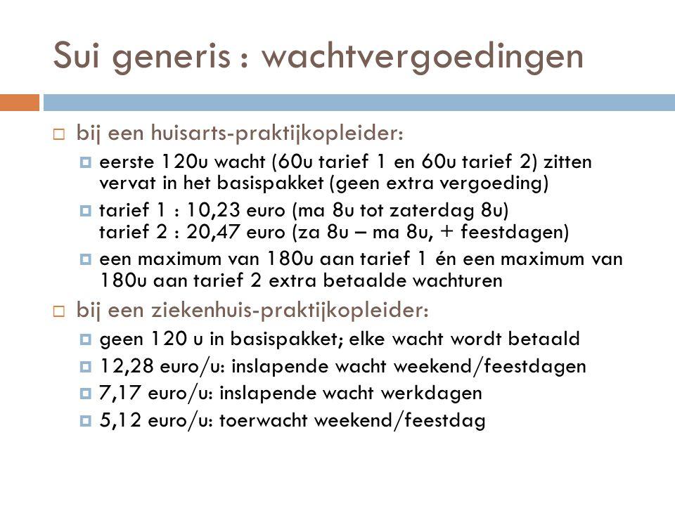 Sui generis : wachtvergoedingen