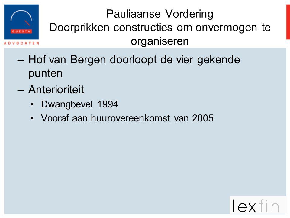 Hof van Bergen doorloopt de vier gekende punten Anterioriteit