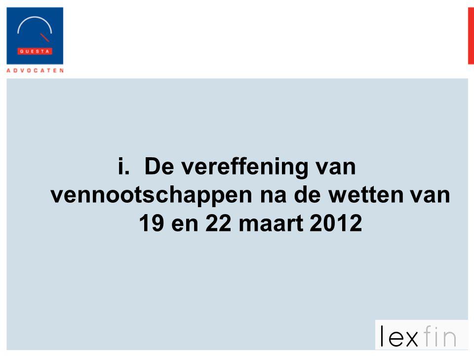 De vereffening van vennootschappen na de wetten van 19 en 22 maart 2012