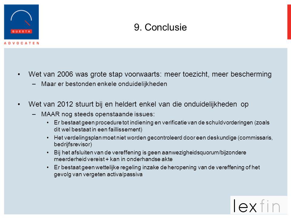 9. Conclusie Wet van 2006 was grote stap voorwaarts: meer toezicht, meer bescherming. Maar er bestonden enkele onduidelijkheden.