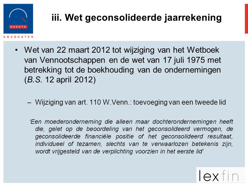 iii. Wet geconsolideerde jaarrekening