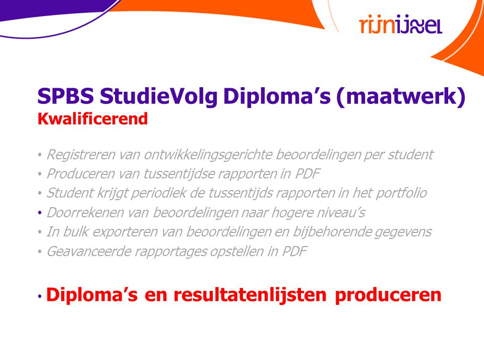 SPBS StudieVolg Diploma's (maatwerk) Kwalificerend