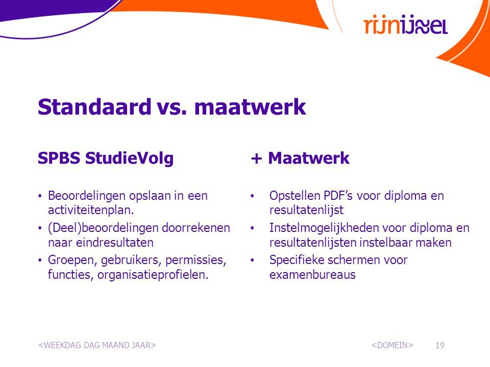 Standaard vs. maatwerk SPBS StudieVolg + Maatwerk