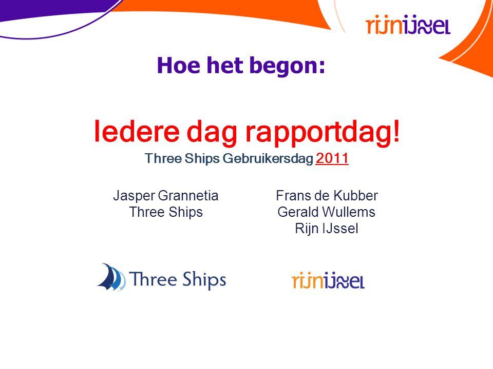 Iedere dag rapportdag! Three Ships Gebruikersdag 2011