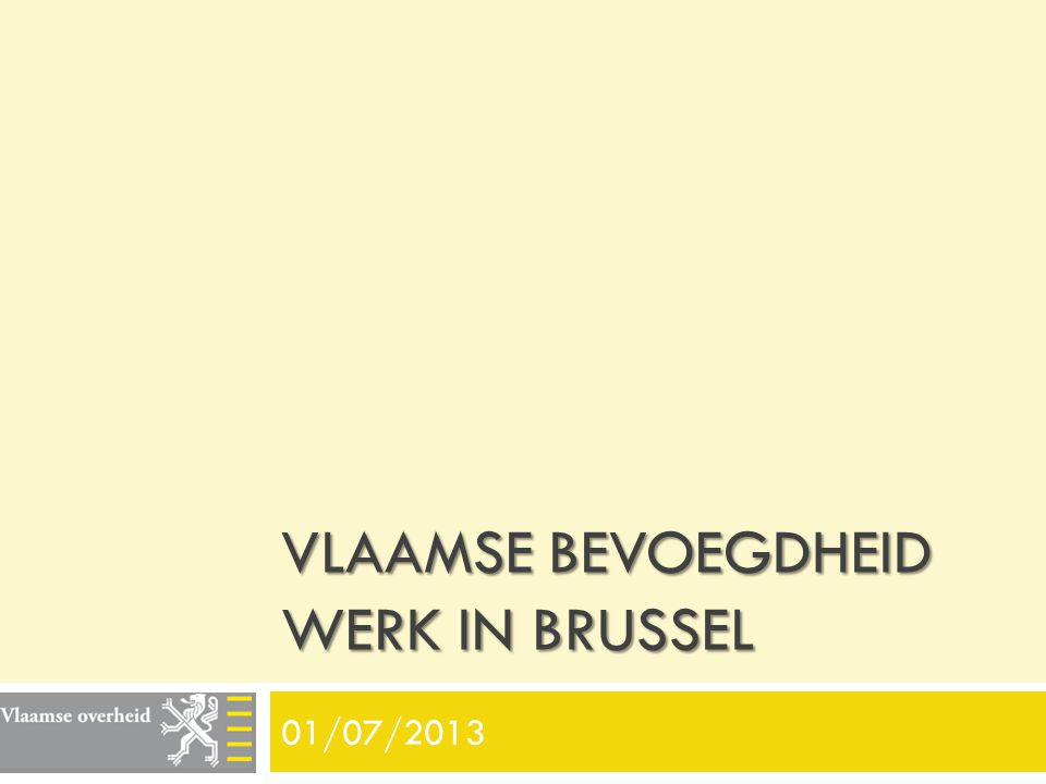 Vlaamse Bevoegdheid WERK in brussel