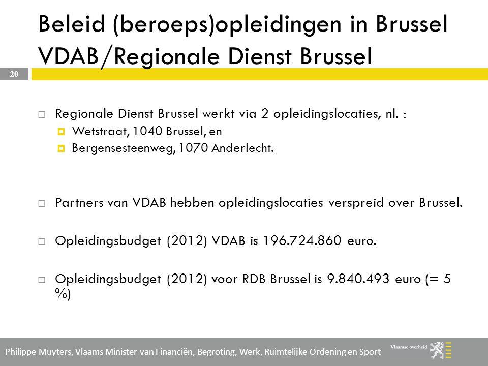 Beleid (beroeps)opleidingen in Brussel VDAB/Regionale Dienst Brussel