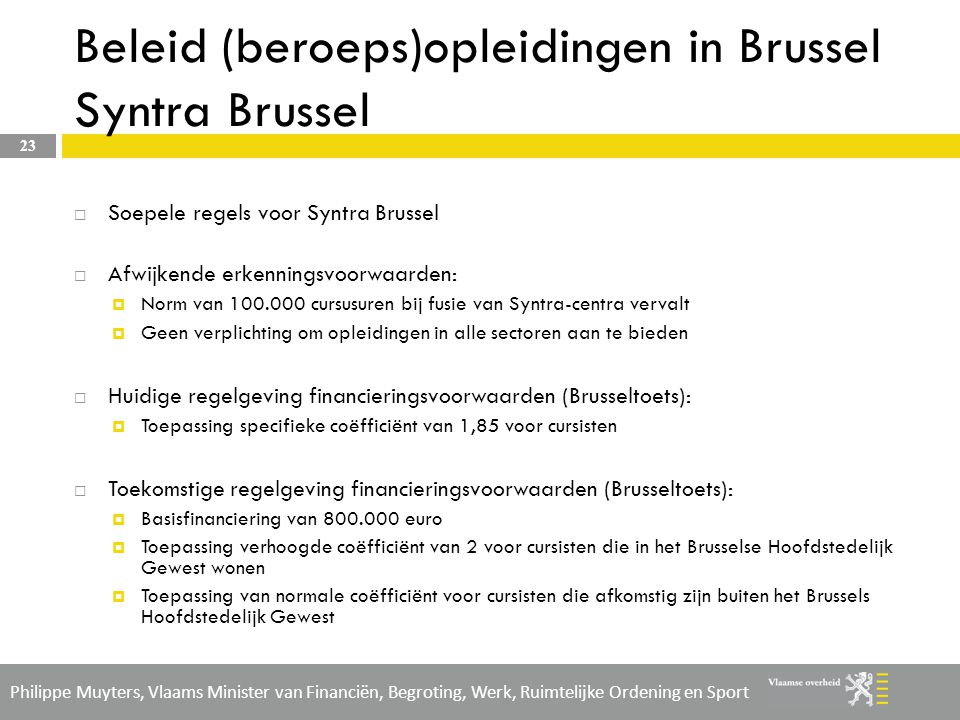 Beleid (beroeps)opleidingen in Brussel Syntra Brussel