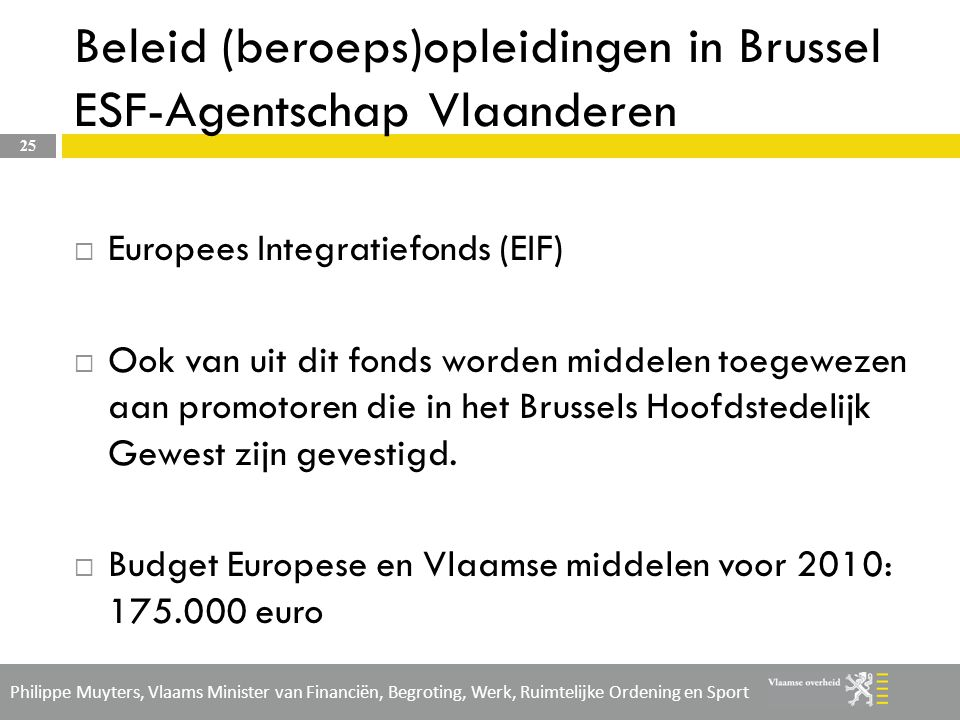Beleid (beroeps)opleidingen in Brussel ESF-Agentschap Vlaanderen