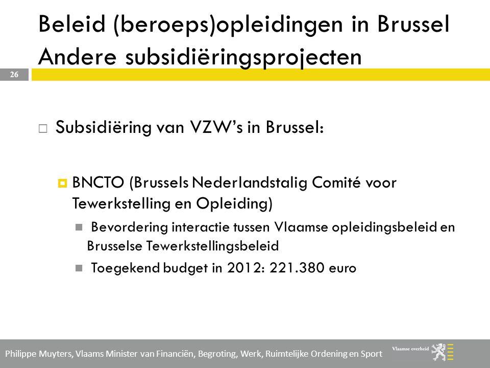 Beleid (beroeps)opleidingen in Brussel Andere subsidiëringsprojecten